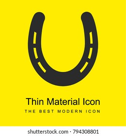 Horseshoe without holes and with slits bright yellow material minimal icon or logo design
