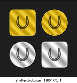 Horseshoe without holes and with slits gold and silver metallic coin logo icon design