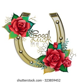 Horseshoes in golden color with red roses design. Talisman for good luck. Vector design element isolated on white background. Decorations for Saint Patrick's Day