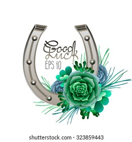 Horseshoes in silver color with succulent design. Talisman for good luck. Vector design elements isolated on white background. Decorations for Saint Patrick's Day