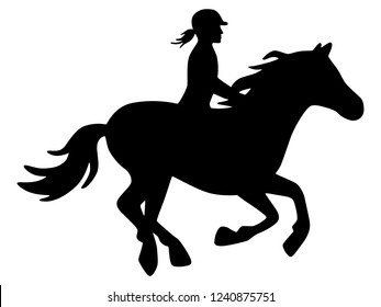 Horsewoman with helmet on galloping horse black and white, vector, isolated
