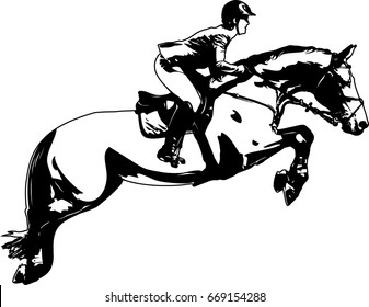 Horsewoman and a horse are jumping over an obstacle, are in mid-air.