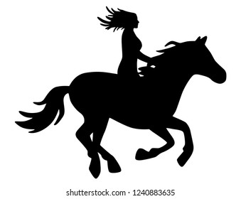 Horsewoman with long hair on galloping horse black and white, vector, isolated