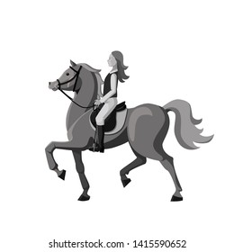 Horsewoman with long hair riding on beautiful horse. Young girl involved in equestrian sports. Monochrome cartoon vector, isolated on white.