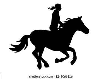 Horsewoman on galloping horse with waving braid / black and white, vector, isolated