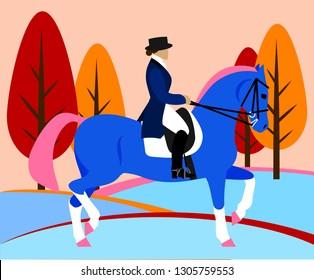 Horsewoman on horseback (rider, equestrian), flat design
