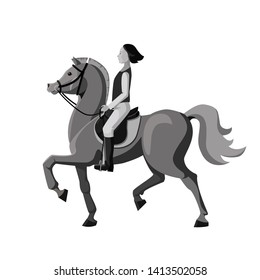Horsewoman riding on beautiful horse. Young girl involved in equestrian sports. Monochrome cartoon vector, isolated on white.