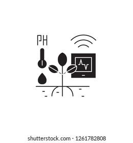Horticulture automation black vector concept icon. Horticulture automation flat illustration, sign