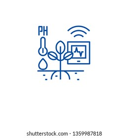 Horticulture automation line icon concept. Horticulture automation flat  vector symbol, sign, outline illustration.
