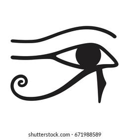 Horus eye icon , The ancient symbol Eye of Horus. Egyptian Moon sign - left Eye of Horus. Mighty Pharaohs amulet.