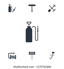 Hose icon. collection of 7 hose filled icons such as shovel and rake. editable hose icons for web and mobile.