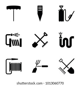 Hose icons. set of 9 editable filled hose icons such as shovel and rake