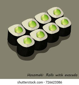 Hosomaki. Roll with avocado. A series of drawings of rolls and sushi for your design