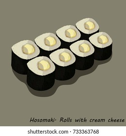 Hosomaki. Rolls with cream cheese. A series of drawings of rolls and sushi