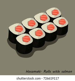 Hosomaki. Rolls with salmon. A series of drawings of rolls and sushi for your design