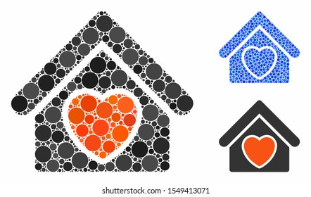 Hospice composition of filled circles in variable sizes and color tinges, based on hospice icon. Vector random circles are combined into blue composition.