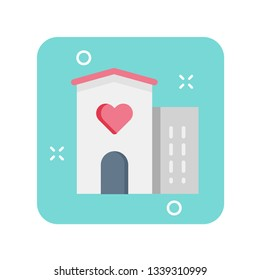 Hospice and palliative care flat color icon. Healthcare for terminally sick people. Sign for web page, mobile app, banner, social media. Pictogram UI/UX user interface. Vector clipart.