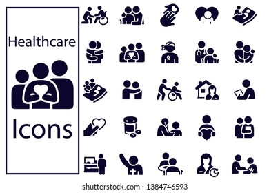 Hospice and Palliative Healthcare Icons vector set illustration