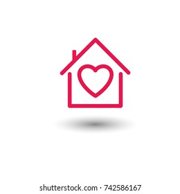 Hospice vector icon, symbol of protection, love house.