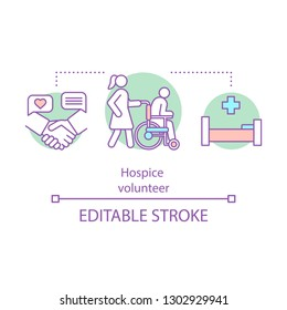 Hospice volunteer concept icon. Nurse idea thin line illustration. Geriatric service. Home care. Medicine and healthcare, Vector isolated outline drawing