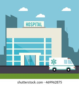 hospita ambulancel building clinic medical health care icon. Colorful design. Vector illustration
