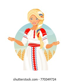 Hospitable Russian girl in national folk clothes. Welcome to Russia. Vector illustration