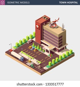 Hospital or Ambulance Building with Emergency Entranse, Parking, Street, Personal Cars and Helicopter. Isometric High Quality City Element. EPS 10 Vector. Flat Style Illustration.