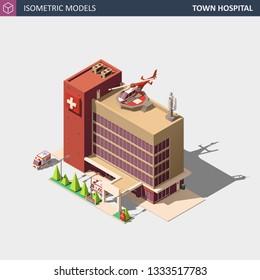 Hospital or Ambulance Building. Isometric High Quality City Element. EPS 10 Vector. Flat Style Illustration.