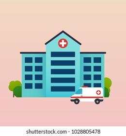 Hospital with ambulance flat vector illustration.