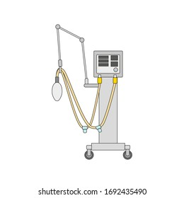 hospital artificial respirator on white background