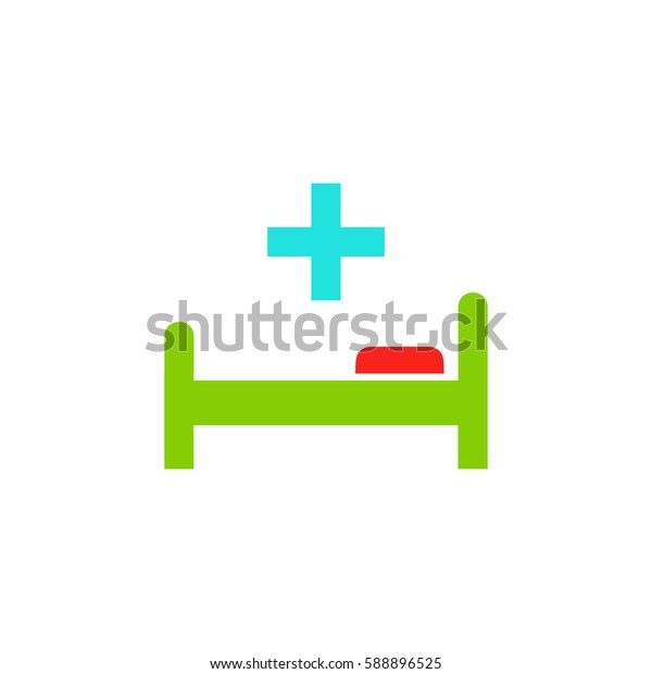 Hospital bed and cross. Color symbol icon on white background. Vector illustration