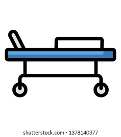 Hospital bed flat vector, stretcher icon