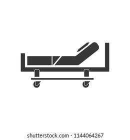 Hospital bed icon. Blue frame design.