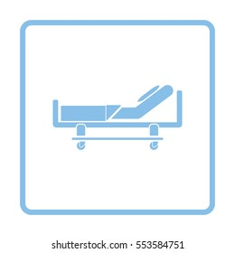 Hospital bed icon. Blue frame design. Vector illustration.