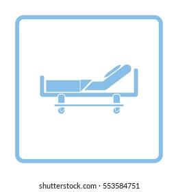 Krankenhausschlafsymbol. Blaues Rahmendesign. Vektorgrafik.