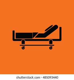 Hospital bed icon. Orange background with black. Vector illustration.