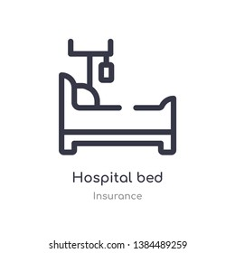 hospital bed outline icon. isolated line vector illustration from insurance collection. editable thin stroke hospital bed icon on white background