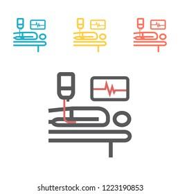 Hospital bed or hospital ward symbol. Man in a coma. Vector illustration for websites.