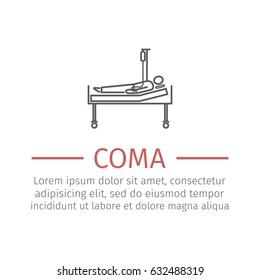 Hospital bed or hospital ward symbol. Man in a coma. Vector