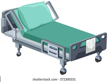 Hospital bed with wheels illustration
