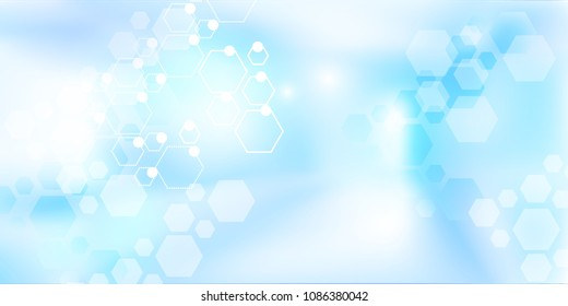 Hospital blurred background. Medical backdrop with molecules. Blur interior inside building with light background. Vector illustration.