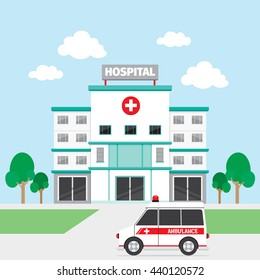 Hospital Building And Ambulance, Architecture, Exterior, Medical, Vehicle, Healthy, Emergency