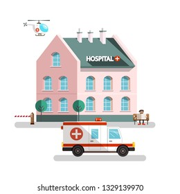 Hospital Building with Ambulance Car, Helicopter and Man Reading Newspapers. Vector Urban Landscape.