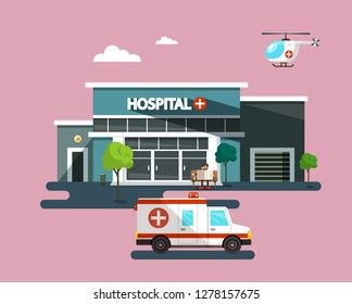 Hospital Building with Ambulance Car. Vector Flat Design Illustration.