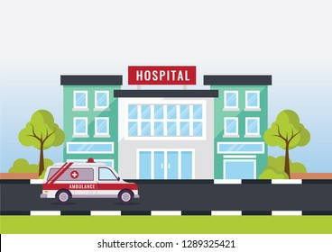 Hospital building with an ambulance. Urban background