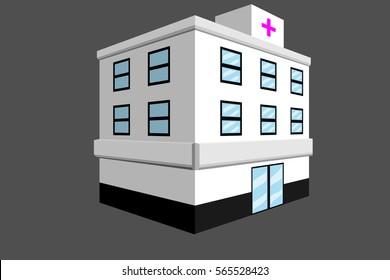 hospital building design.vector and illustration