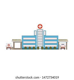 Hospital building icon in flat style. First aid car front and back view. Medical cityscape architecture in cartoon style. Health care hospital exterior. Vector illustration