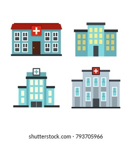 Hospital building icon set. Flat set of hospital building vector icons for web design isolated on white background