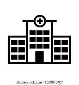hospital building Icon Vector Illustration Logo Template