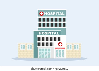 The  hospital building isolated on blue background with copy space for professional medical team, health life concept with cartoon, anime and background  - vector illustration Eps 10.